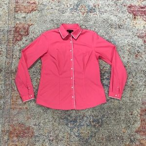 Pink and White Lands End Button Down Shirt (8)
